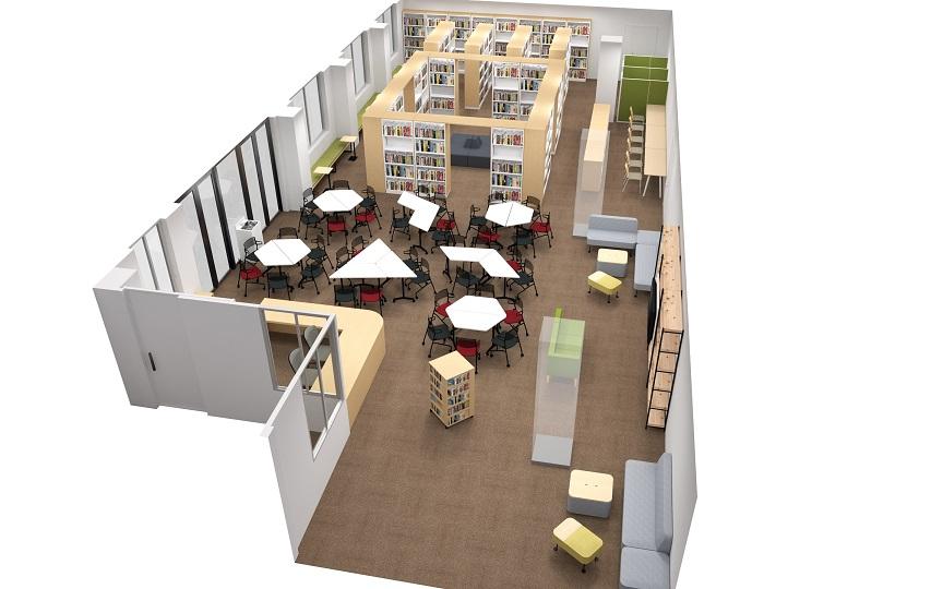 鳥取城北高校図書館パース